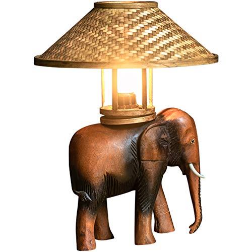 Dongbin Retro Elefant Tischlampe, Massivholz dekorative Tischlampe Nachttisch Schlafzimmer, Hotel kreative Persönlichkeit, Innenknopf warme Lampe 110V