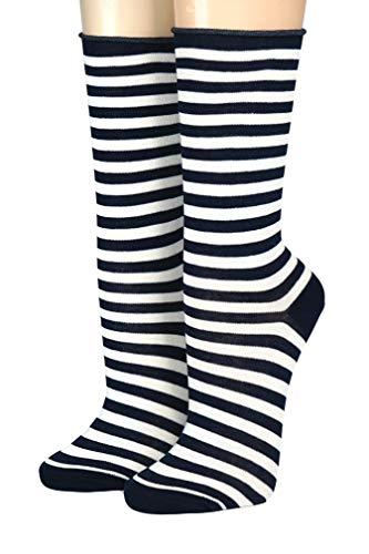 CRÖNERT Socken Longsocks Söckchen im Design Kieler Ringel Socken 18808 (39/42, marine-weiß 1865)