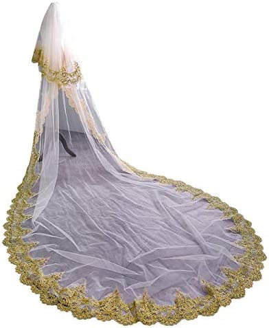 Cibelle Womens 2 Tiers Gold Applique Wedding Veils Long Bridal Veil with Beading Sequin Ivory product image