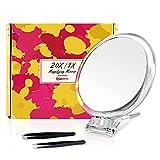 Espejo Aumento 20x, Espejo de Mano Portátil, Espejo Redondo de 15 cm, Doble Cara, Perfecto Para un Maquillaje Preciso
