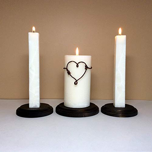 Rustic Unity Candle Set and Stand for Wedding Ceremony