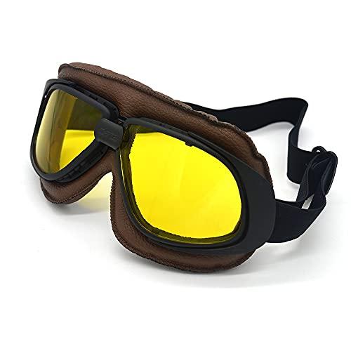 ZMMWDEGafas de Motocicleta, Gafas deCasco Vintage para Motocicleta, Gafas de Motocross, Gafas de Sol Retro de piloto Steampunk, Gafas para Bici de la Suciedad, Mujeres y Hombres