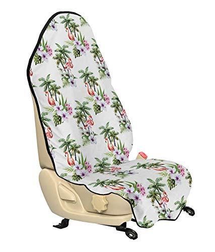 ABAKUHAUS Palmboom Beschermhoes voor autostoelen, Flamingo Hibiscus Art, met Antislip Achterkant, Universele Maat, 75 x 145 cm, Veelkleurig