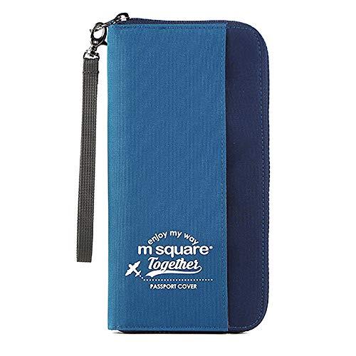 パスポートケース スキミング防止 LUXSURE 薄型 軽量 防水 大容量 海外旅行 名刺 クレジットカード 航空券 収納ポケット 収納ポーチ 長財布 家計管理 マルチポーチ ブルー