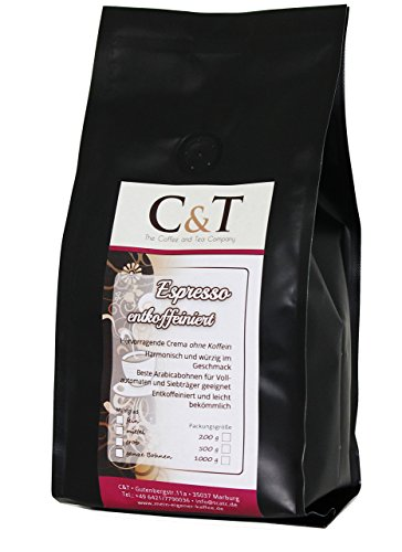 Kaffeebohnen Entkoffeiniert - UNSER ESPRESSO CREMA - 1000g Ganze Bohnen - für Kaffee-voll-automat, Espressovollautomat - Schonend Gerösteter Bohnen-Kaffee Säurearm Ohne Koffein Blend