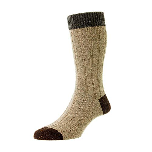 Scott Nichol Thornham 6x2 Rib Socks - Natural Marl Natural Fleck Large