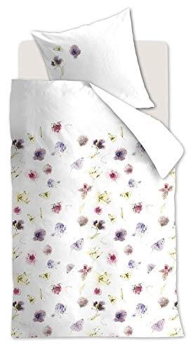 Marjolein Bastin Magita Purple Haze Purple - Juego de cama (funda nórdica de 135 x 200 cm y funda de almohada de 80 x 80 cm), diseño otoñal de flores, tonos morados y mariposas