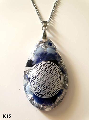 Nature-and-Spirit Orgonit Amulett mit Kette, Anhänger, Blume des Lebens, Orgon, Tropfen, Heilsteine, Sodalith, Aquamarin, Turmalin