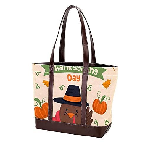 NaiiaN Borse Tote Bag Borsa Shopping Tracolla leggera per donne madri Ragazze Studentesse Cartoon Turchia Happy Thanksgiving Day Borse a tracolla