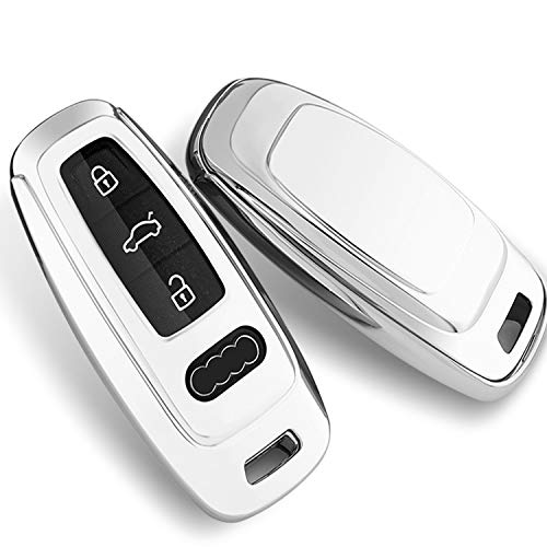 Tukellen for Audi Key Fob Cover Case Special Soft TPU Key Case Cover Protector Compatible with Audi 2019 2020 A6 A6L A7 E-Tron A8 Q8 Keyless Smart Key Fob-Silver