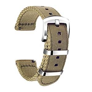 Ullchro Nylon Cinturini Orologi Alta qualità Orologi Bracciale Militari Esercito - 18mm, 20mm, 22mm, 24mm Cinturino Orologio Fibbia Dell'acciaio Inossidabile (18mm, Beige)