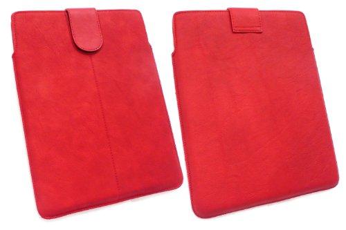 Emartbuy® Rot Pu-Leder secured Gleiten In Pouch Hülle Tashe Hülle Sleeve-Halter Mit Pull Tab Mechanismus Geeignet Für Odys Iron 9.7-Zoll-Tablet