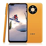 """Xgody Mate40 Smartphone Unlocked, 6.72"""" HD Perforated Screen for Android 8.1 Cellphones Cheap, Dual Sim-Free Mobile Phones with Face ID, Dual 5MP Beauty Cameras + 8GB ROM (Yellow, 6.72')"""