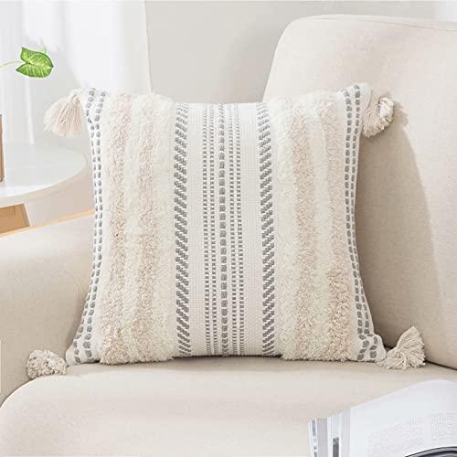 Funda de cojín bohemia decorativa de tejido con puntadas para sofá, salón, cama, dormitorio, caqui, 50 x 50 cm
