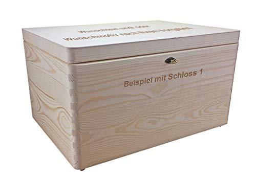 MidaCreativ abschließb. Holzbox/Holzkiste Gr. 3 Kiefer unbehandelt incl. Lasergravur n. Wunsch und Schloss-Variante nach Wahl
