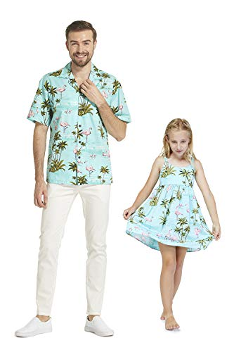 Hecho en Hawai Haciendo Juego a la Hija del Padre Camisa de Luau y Vestido elástico de la Correa en Flamingo Turquesa 2XL-8