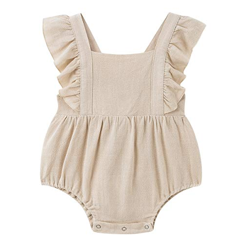 Muasaaluxi Newborn Baby Girls Flamingo Sleeveless Romper Backless Bodysuit Jumpsuit Headband Summer Outfits 0-24M