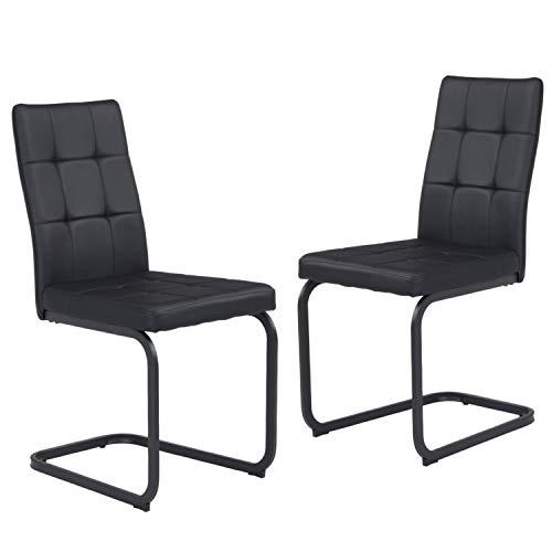 B&D home - Esszimmerstühle 2er Set | Vintage freischwinger Stühle | Kunstleder schwarz