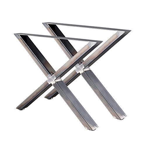 Zelsius tafelpoten X vorm tafelglijders X onderstel tafelframe 2 stuks metalen glijders ruw staal of grijs I industrie (B) 72 x (H) 60 cm Rohstahl (Transparent Lackiert)