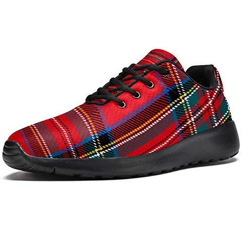TIZORAX Zapatillas de correr para hombre de Navidad, patrón de cuadro
