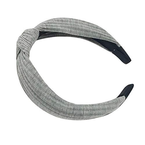 Neue Damen Stirnband Haarband,Mode Bogen Knoten Haarband Frauen Haar Kopf Hoop Einfache süße Mädchen Haar Stirnband Einfarbiges Stirnband (Grau, Medium)