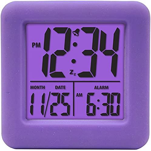 JOK Reloj de Alarma Creativo, protección de Gel de sílice, Reloj de Silencio Anti-Shock y Anti-otoño, Reloj de Alarma electrónico, Reloj Despertador Cuadrado de Silicona
