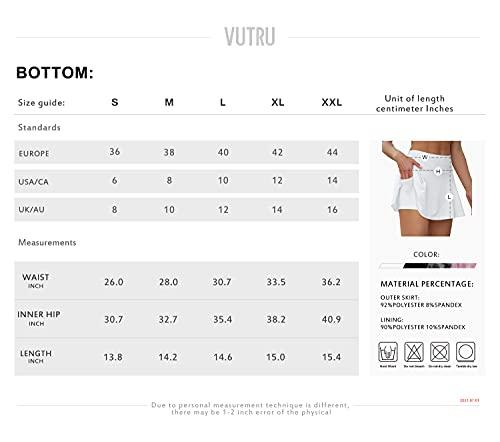 VUTRU Faldas de Tenis Cintura Alta Faldas Pantalón Skorts de Golf para Mujer Mini Faldas Deportiva Plisadas para Correr Gimnasio Fitness con Pantalones Cortos Interior Blanco XS