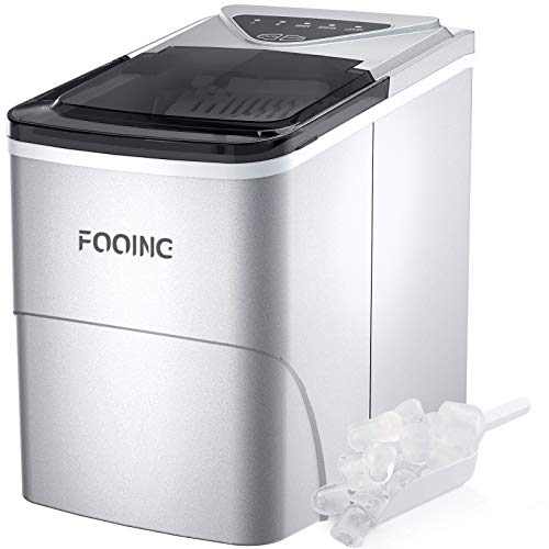 Máquina para hacer hielo FOOING Máquina para hacer cubitos de hielo Encimera lista en 6 minutos de 2 litros con pala para hielo y canasta Pantalla LED Máquina para...
