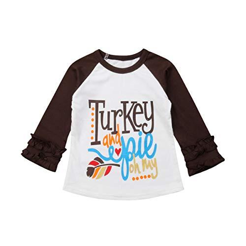 Camiseta infantil de manga comprida com estampa de abóbora de algodão e bolinhas com babados para o dia de Ação de Graças, Marrom, 12 Months
