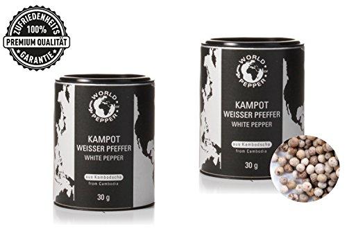 Echter weißer Kampot Pfeffer - World of Pepper - 2x 30g - Exklusiver intensiver Pfeffer aus Kambodscha - Premium Qualität mit Zufriedenheitsgarantie