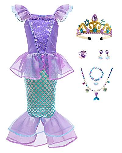 Girls Mermaid Costume with Crown Princess Dress Up Halloween Cosplay Accessories