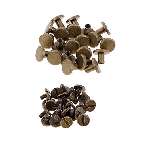 Trimming Shop Chicago-Schraubnieten, 9 x 9 mm, Gold, Flachkopf, resistent, langlebiges Messing für Lederarbeiten, Kunst, Buchbindung, Handwerk, DIY-Dekoration, bronze, 20pcs