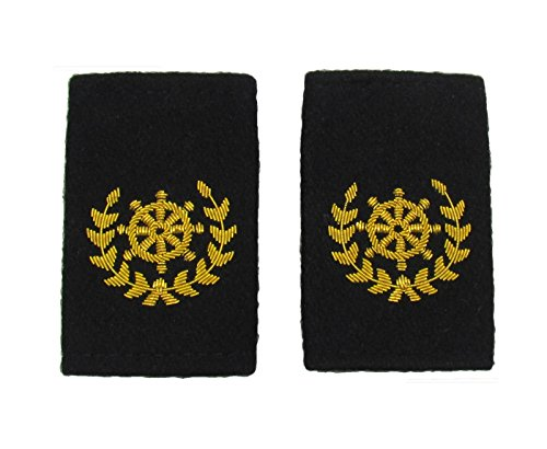 Corona de volante Quarter Master Epaulette bordada con lingotes dorados y fieltro negro