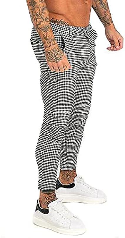 MG MORENGAR Pantalon London Chino Cuadros Vichy Ajustado y Elegante para Hombre – Pantalones de Vestir de Ajuste Cintura a Tobillos. Pantalones Chinos elásticos de Cuadros