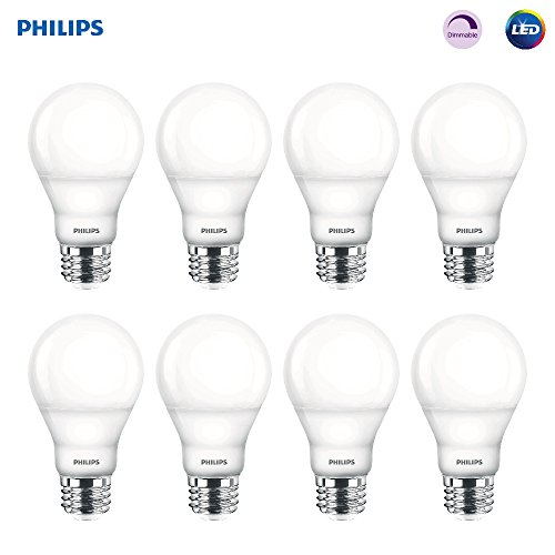 Philips 8 Pack of LED Dimmable A19 Frosted Light Bulbs (Old Generation)