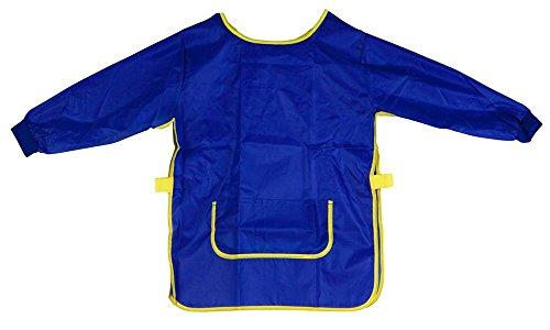 Idena 611187 - Bastelschürze für Kinder von 9 - 10 Jahren mit langen Ärmeln und Klettverschluss, perfekt zum Malen, Basteln, Kochen und Matschen, blau