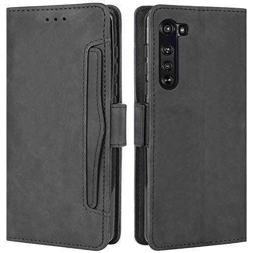 HualuBro Motorola Edge Hülle, Magnetischer R&umschutz Stoßfest Flip Leder Wallet Hülle Cover mit Kartenfächer für Motorola Moto Edge 5G Handyhülle (schwarz)