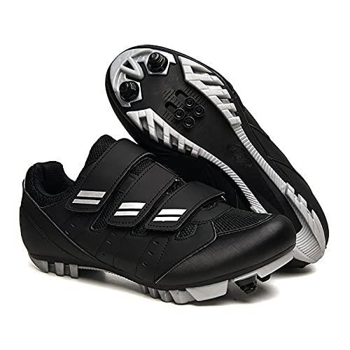 Shhyy MTB Fahrradschuhe Herren/Damen,Unisex Radsportschuhe Rennrad Schuhe/straßenreitschuhe,Mountainbike-atmungsaktiv Widerstandsfähig,Schwarz,40