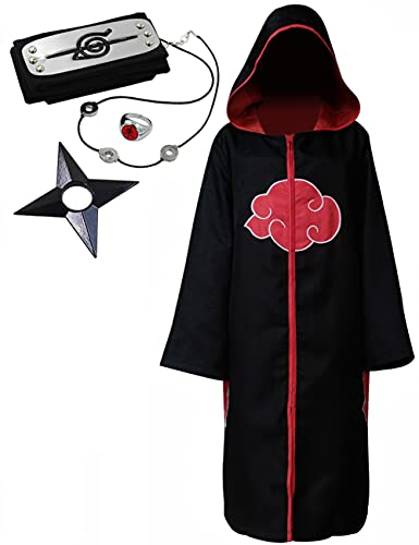 Angelaicos Unisex Halloween Cosplay Costume Uniform Black Cloak with Headband (L, 5pcs Set)