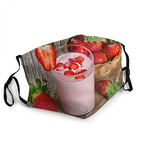 Comfortable Fashion Face Mask Yoghurt Strawberry Yoghurt Stravberra Milk Breakfast Glass Mouth Face Protect Bandana Balaclavas Dust Mask