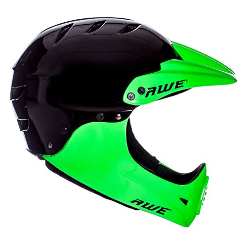 AWE® gratis 5Jahr Crash Ersatz * BMX Full Face Helm schwarz grün, Größe M 54–58cm - 2