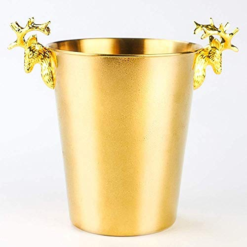 Cubo de hielo para el hogar / bar Cubo de hielo, cubo de hielo de acero inoxidable, cubo de hielo con tapa Luz de lujo creativa Cabeza de ciervo Cubo de hielo Acero inoxidable Vino tinto Cubo de c
