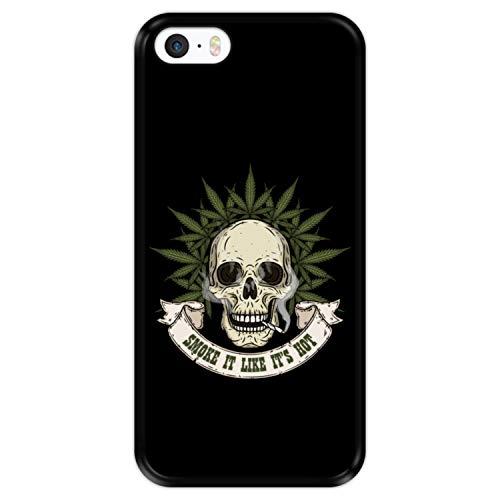 Hapdey Funda Negra para [ Apple iPhone 5 5S SE ] diseño [ Calavera con Marihuana, Smoke it Like It's Hot ] Carcasa Silicona Flexible TPU