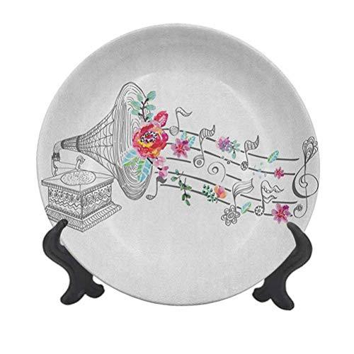 Plato decorativo de cerámica para colgar de 25,4 cm, estilo vintage, reproductor de discos de gramófono con adorno floral, diseño antiguo, para mesa de comedor, catering