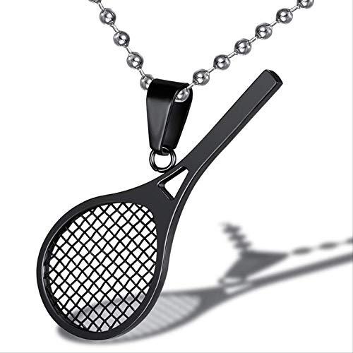 NGeneric Collar con Colgante De Forma De Raqueta De Tenis De Titanio Raqueta Y Pelota Rotas Colgante De Tenis con Encanto Deportivo Simple
