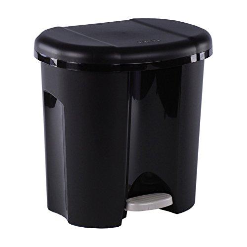 Rotho Duo Mülleimer zur Mülltrennung mit zwei Inneneimer, Kunststoff (PP), schwarz, 2 x 10 Liter (39 x 32 x 40,5 cm)