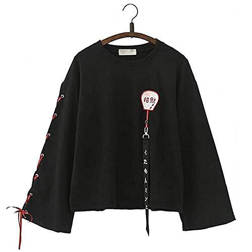 Black Sugar – Sudadera de manga larga para mujer, color negro, Maneki Neko con ribete de gato, cinta japonesa, de manga larga, para mujer y niña, color negro
