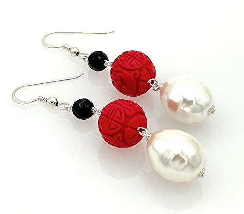 Pendientes de perlas barrocas blancas, cinabrio rojo y agata negra, plata 925, joyas estilo oriental, regalo para mujer, hecho a mano
