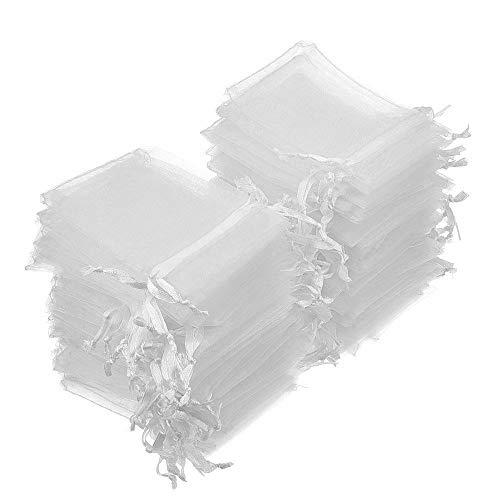 INTVN Organza Säckchen Klein Organzabeutel Schmuckbeutel Geschenkbeutel Hochzeit Säckchen Weiß 7 X 9cm, 200 Stück
