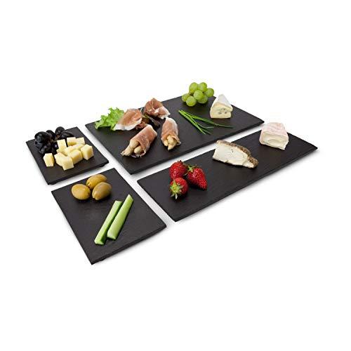 ROMINOX Geschenkartikel Schieferplatten-Set // Tapas Ardesia – 4-teilig, lasierte, unempfindliche Schieferplatten in 3 Größen, zum Servieren, flexibel kombinierbar; Maße: ca. 30 x 20 x 1.5 cm